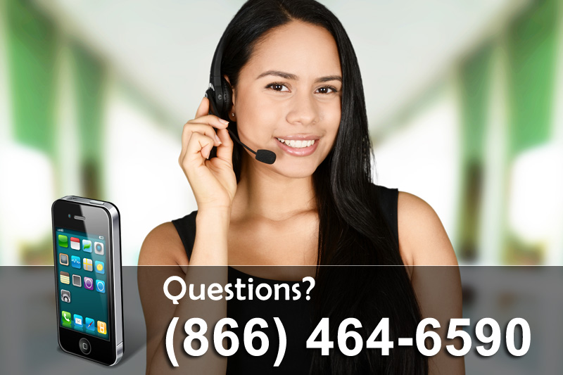 woman wearing a headset and phone number for questions
